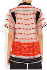 Marni Sequence Embroidered Organza Top in Orange (white) - Lyst