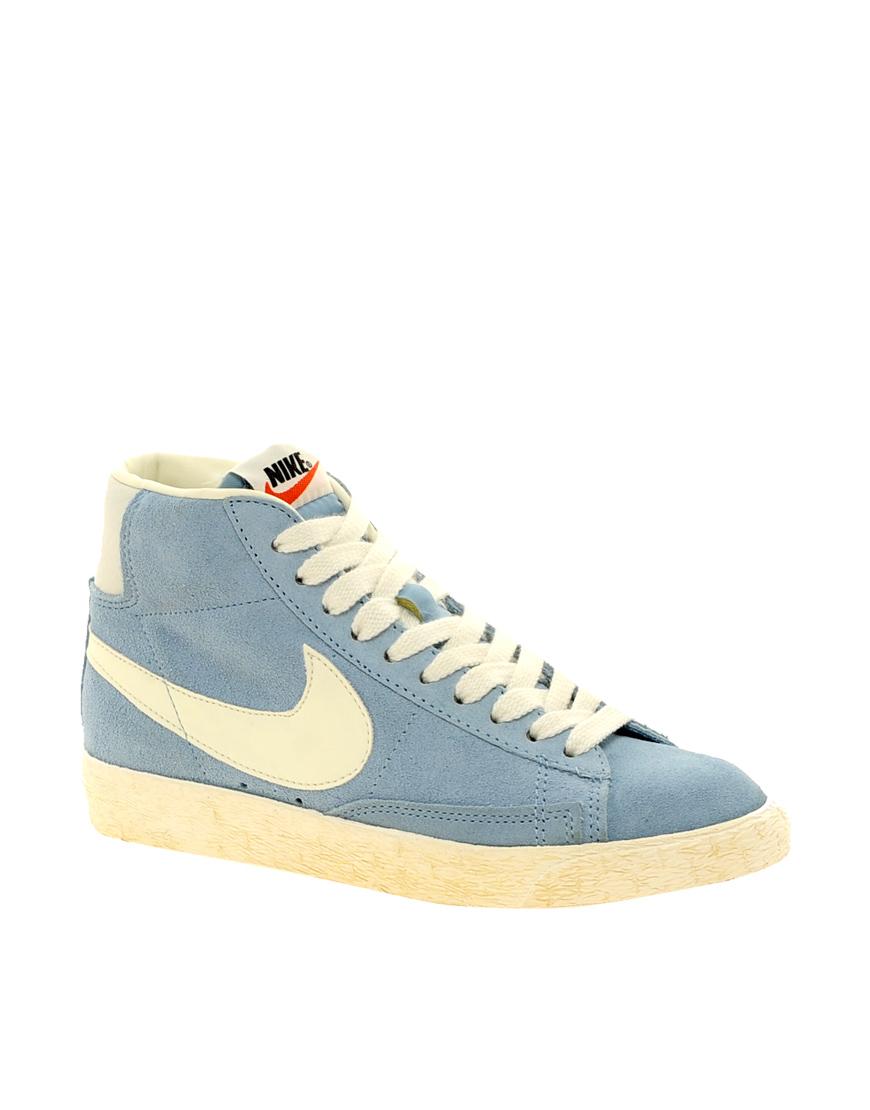 Nike Blazer Mid Light Blue Trainers in Blue Lyst