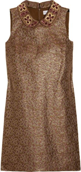 RED Valentino Beadcollared Metallic Brocade Dress - Lyst