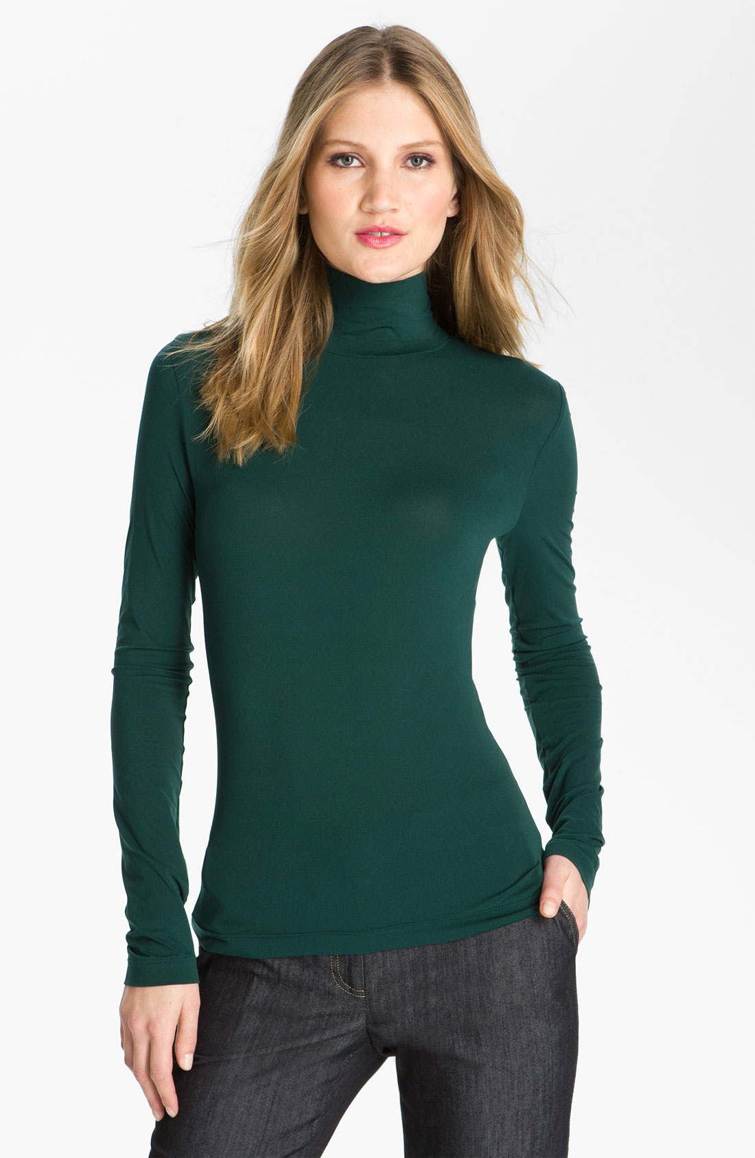 St John Collection Fine Jersey Turtleneck Shell In Green