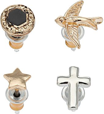 Topshop Cross Star Bird Studs - Lyst