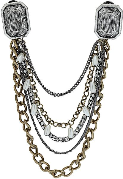 Topshop Chunky Chain Collar Tips in Silver (mixed metal ...