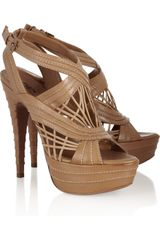 Alaïa Multistrap Leather Platform Sandals - Lyst