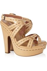 Alaïa Leather Platform Sandals - Lyst