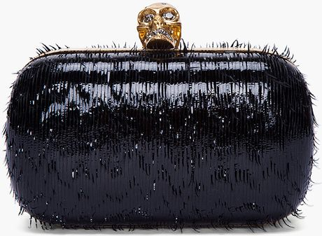 Alexander Mcqueen Black Frayed Patent Clutch Box in Black - Lyst