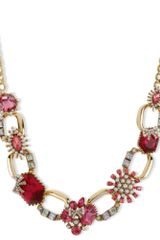 Betsey Johnson Gold Tone Fuchsia Crystal Chain Link Frontal Necklace - Lyst