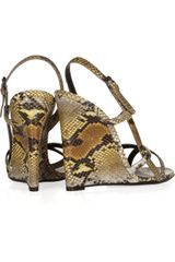 Bottega Veneta Python Wedge Sandals in Animal - Lyst