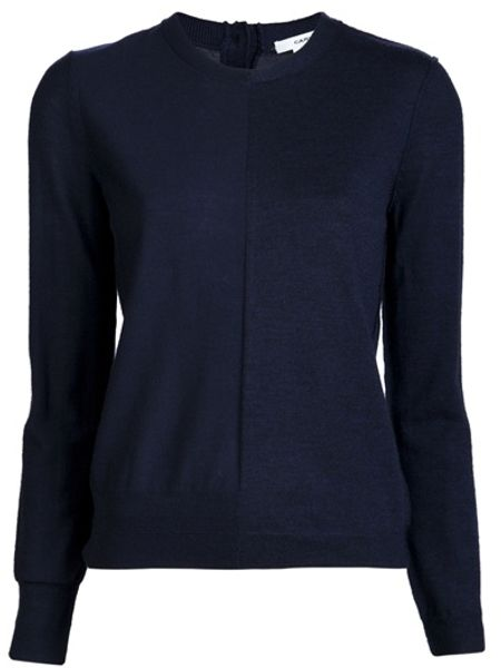 Carven Button Back Sweater in Blue - Lyst