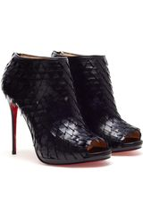 Christian Louboutin Diplonana Leather Peep Toe Ankle Boots in Black - Lyst