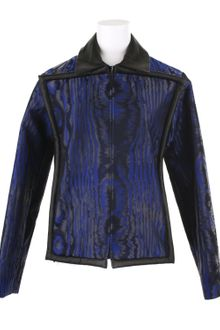 Christopher Kane Moiré Effect Jacket in A Blue and Black Silk and Nylon Blend - Lyst