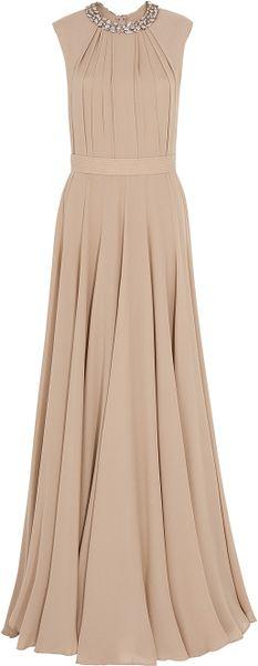 Elie Saab Embellish Collar Georgette Gown in Beige (gold)