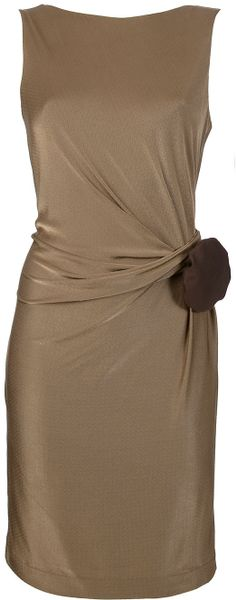 Gucci Draped Sleeveless Dress in Brown - Lyst