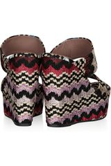 Missoni Crochet and Leather Wedge Sandals in Multicolor (pink) - Lyst