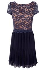 Oasis Oasis Pleated Crop Lace Dress Dark Blue - Lyst