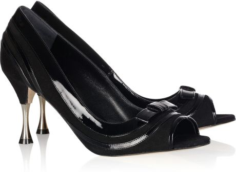 Oscar De La Renta Twiggy Suede and Patentleather Pumps in Black - Lyst
