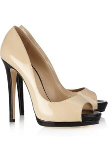 Oscar de la Renta Dina Patentleather Peeptoe Pumps - Lyst