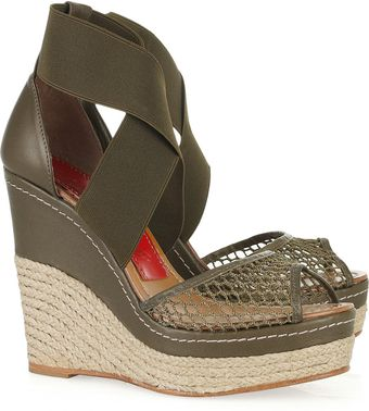 Paloma Barceló Amalaga Mesh and Leather Espadrille Wedge Sandals - Lyst