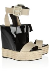 Pierre Hardy Patent Leather and Linen Wedge Sandals - Lyst