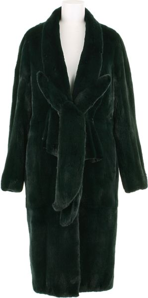 Revillon Maxi Coat in Deep Green Dyed Mink Fur in Green