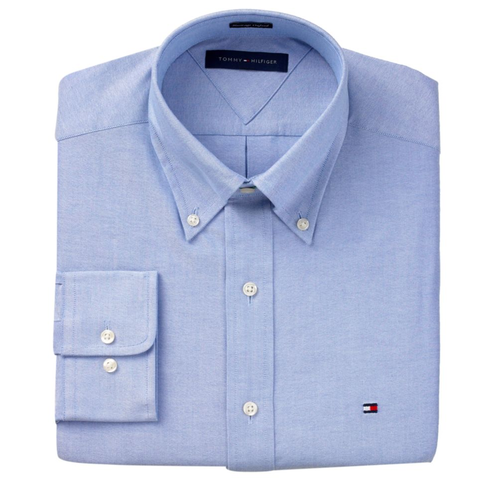 Lyst tommy hilfiger slim fit heritage oxford solid long for Men oxford slim fit long sleeve shirt