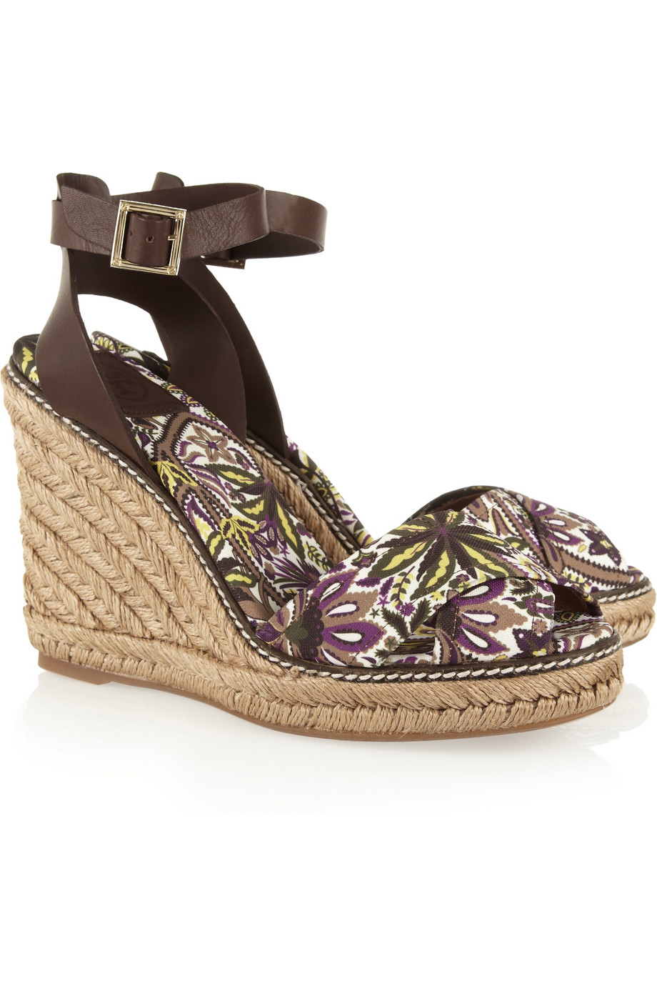 7e8a37da134 Lyst - Tory Burch Printed Canvas and Leather Espadrille Wedge ...