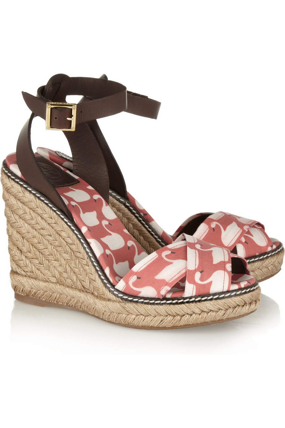 Lyst Tory Burch Printed Canvas Wedge Sandals In Red