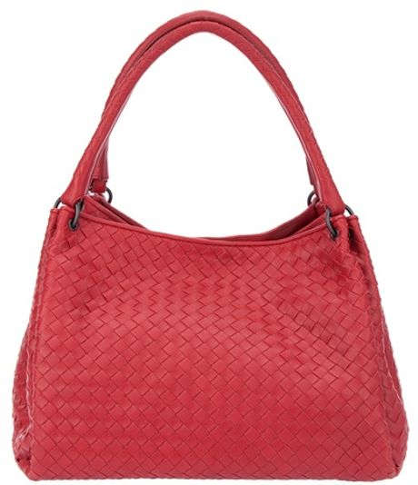 Bottega Veneta Woven Leather Bag in Red - Lyst