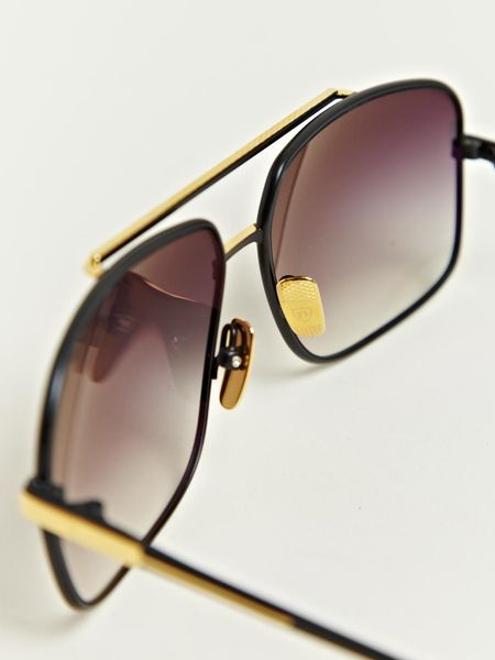 Big Gold Frame Sunglasses : Dita Black Eighteen Carat Gold Frame Sunglasses in Black ...