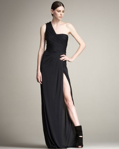 J. Mendel Lace Underlay Chiffon Gown in Black (midnight) - Lyst