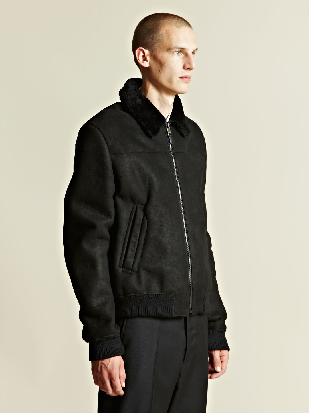 jil sander jil sander mens volo flight jacket in black for. Black Bedroom Furniture Sets. Home Design Ideas