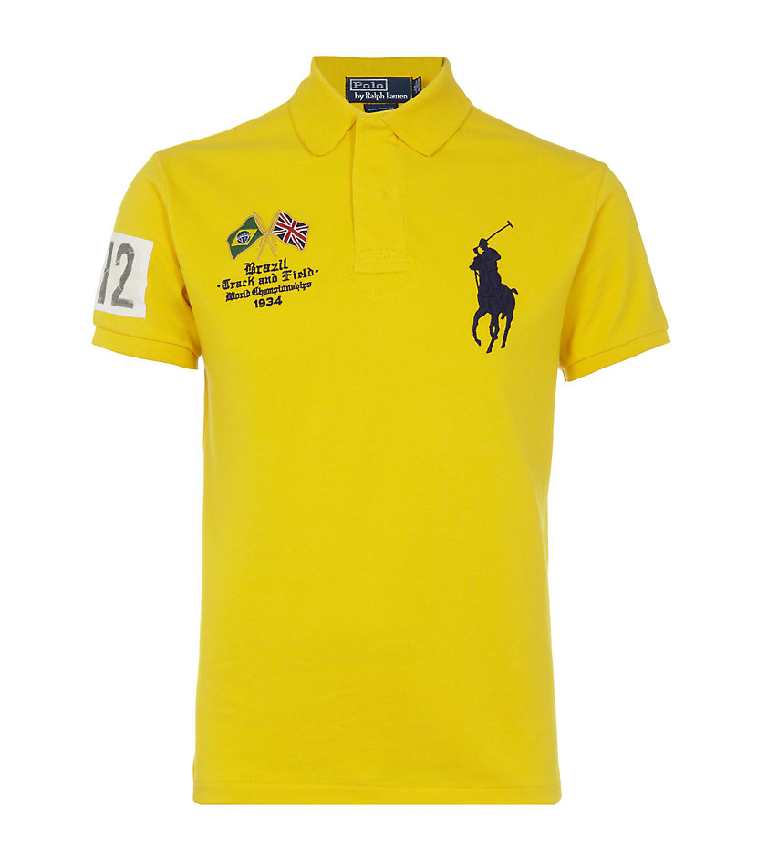 01371ffa Polo Ralph Lauren Track Field Polo Shirt in Yellow for Men - Lyst