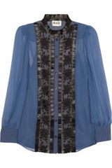 Alice By Temperley Vanessa Embroidered Silk Chiffon Shirt - Lyst
