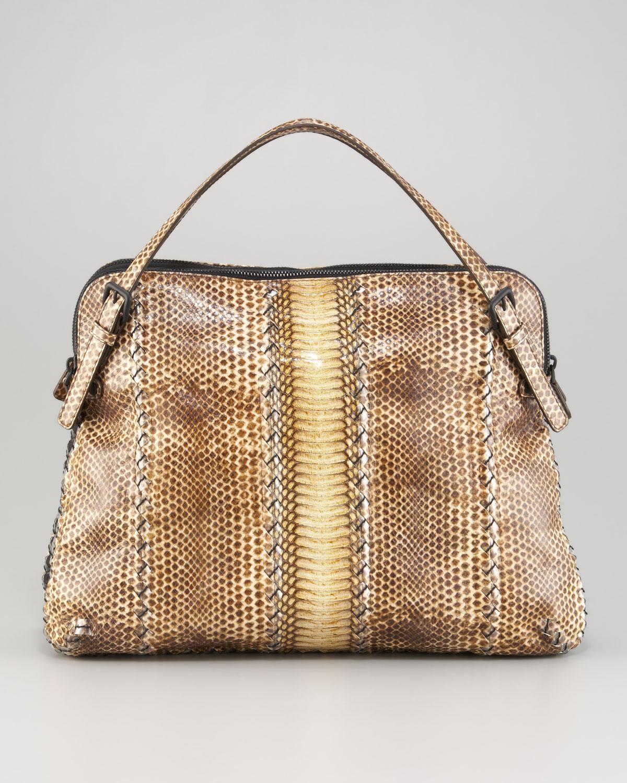 Lyst - Bottega Veneta Snakeskin Top-Handle Bag in Natural 41632b695a7b0