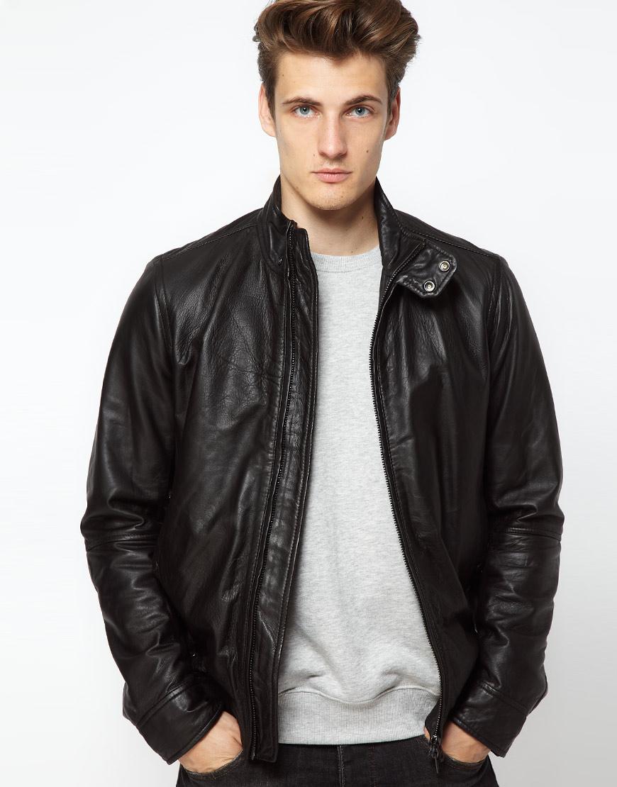 Black Leather Bomber Jacket Men - JacketIn