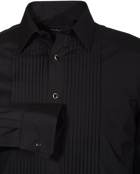 Double two black stitch pleat dress shirt in black for men for Black pleated dress shirt