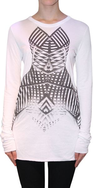 Gareth Pugh Modal and Cashmere Tshirt in White - Lyst