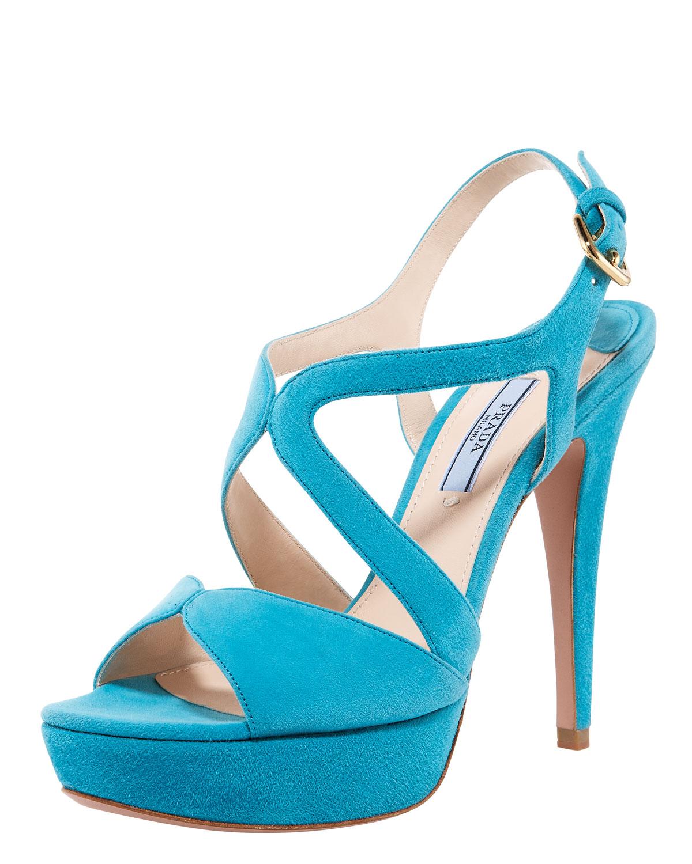 f0e1c2ae3ab Lyst - Prada Suede Multi-strap Platform Sandal in Blue