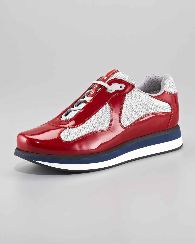 719f2736fc8e ... new style lyst prada americas cup sneaker redsilver in red for men  9f578 ecc82