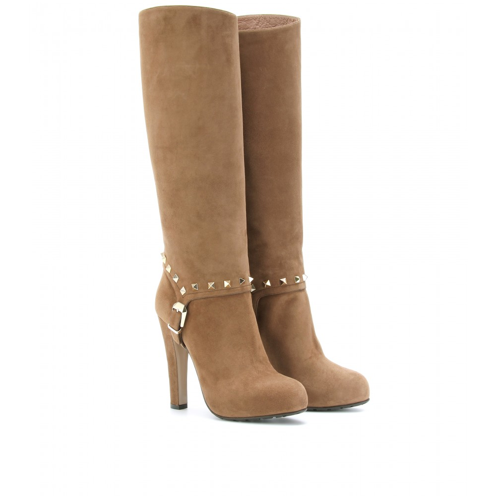 valentino rockstud suede boots in brown lyst