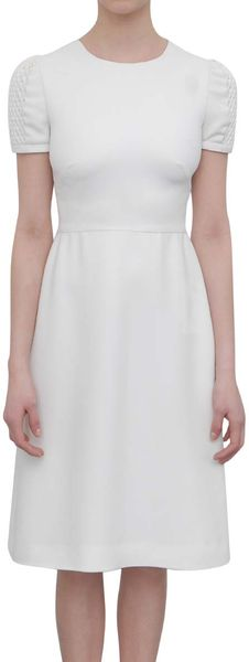 Valentino Silk Dress with Netted Stitch in White - Lyst