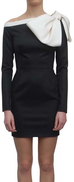 Valentino Woolen Dress with Rosette in Black - Lyst