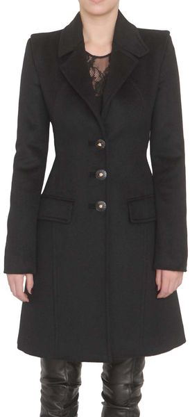 Versace Single Breasted Coat in Black - Lyst