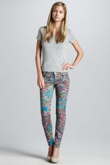 7 For All Mankind Printed Skinny Jeans Garden Party - Lyst