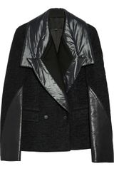 Alexander Wang Wool Blend Bouclé Leather and Nylon Paneled Jacket - Lyst