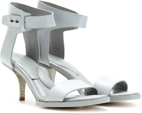 Alexander Wang Inna Leather Sandals with Stacked Heel in White (mercury)