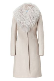 Blumarine Sand Coat with Removable Raccoon Fur Collar - Lyst
