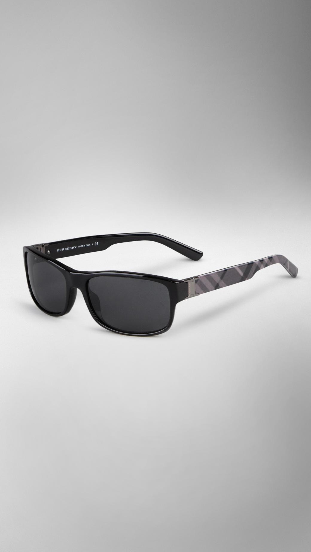 6086a8f6587 Lyst - Burberry Rectangular Frame Check Arm Sunglasses in Black for Men