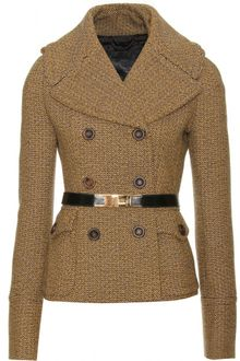 Burberry Prorsum Herringbone Tweed Belted Jacket - Lyst