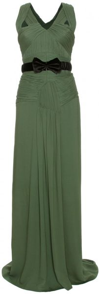 Burberry Prorsum Pleated Crepe Dress in Green (pine) - Lyst