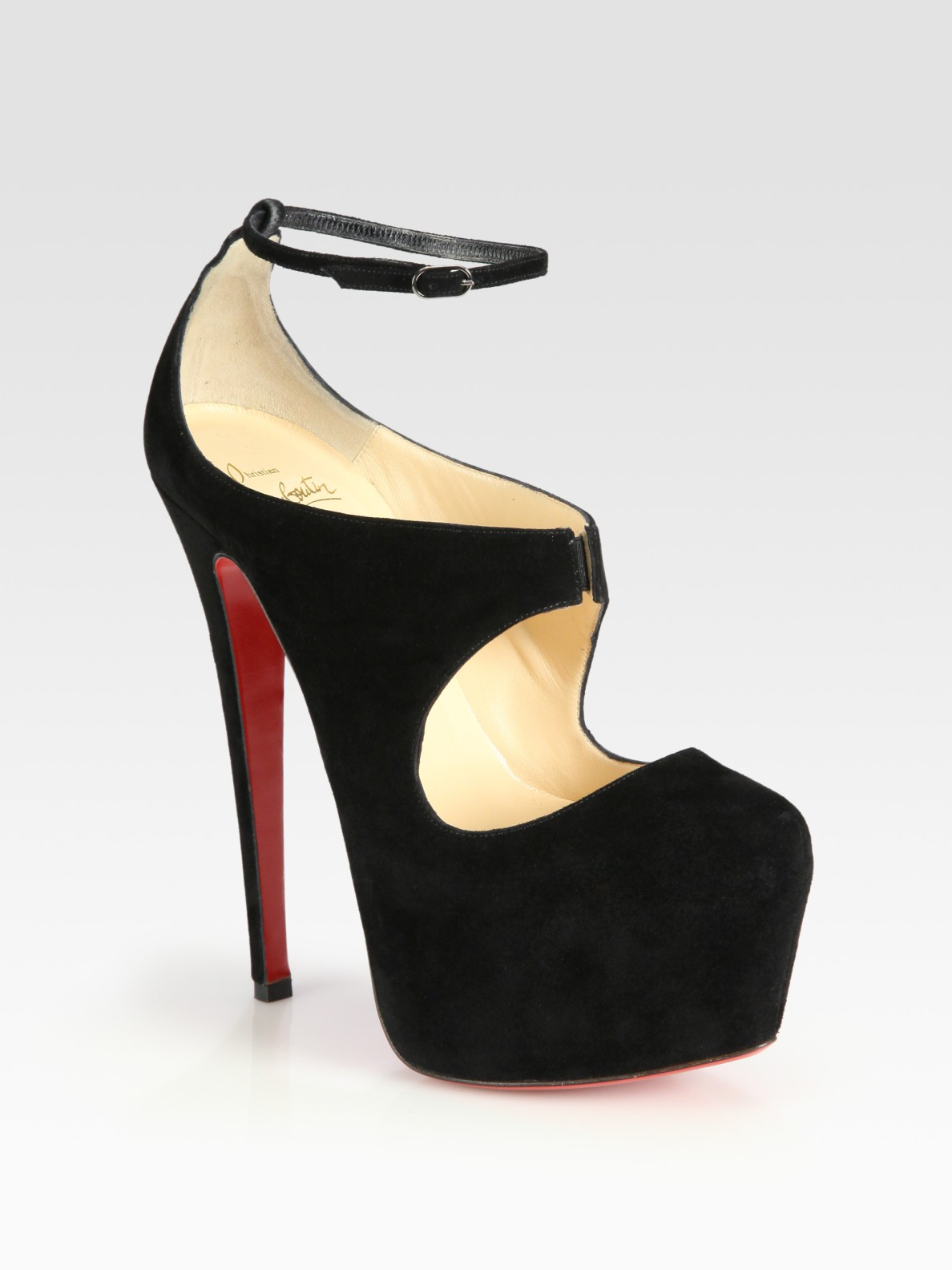 lyst christian louboutin maillot suede mary jane platform pumps in black. Black Bedroom Furniture Sets. Home Design Ideas